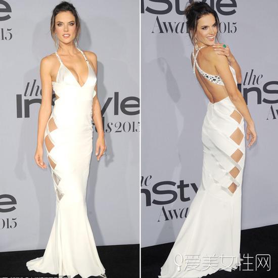 亚历山大-安布罗休(Alessandra Ambrósio)吊带白色礼服亮相