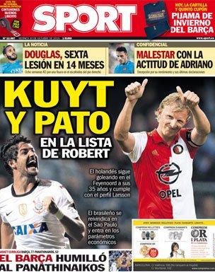 《逐日体育报》封面:巴萨目标帕托跟库伊特