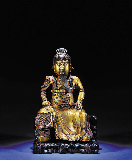 明 铜鎏金关公像