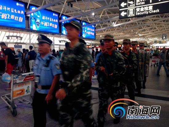 机场加强巡逻工作(南海网记者刘培远摄)
