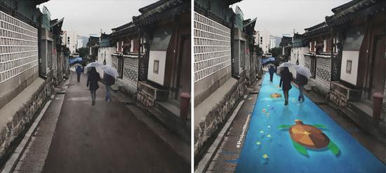 首尔街头现神奇涂鸦 下雨天路面变卡通(组图)