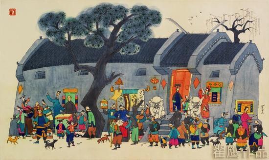 翟鹰《胡同献艺图》32X62cm绢本水墨1994