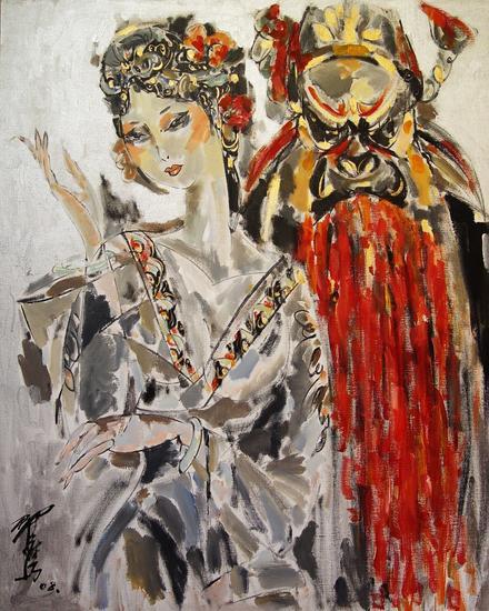 翟鹰作品《钟馗嫁 妹》油画100X80cm 2008 年JPG