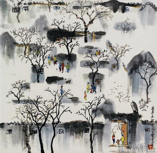 翟鹰《京宅雪霁图》68X68cm水墨1990