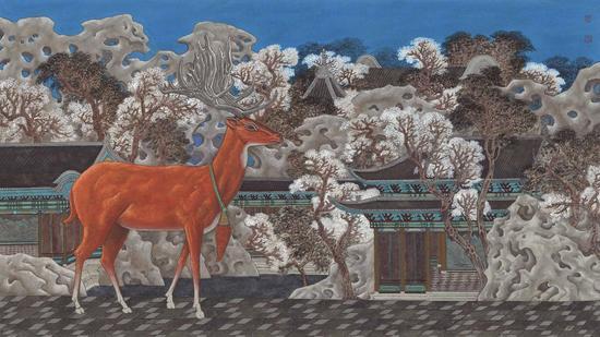 葛冠中,鹿野苑,53×95cm,纸本水墨,2015