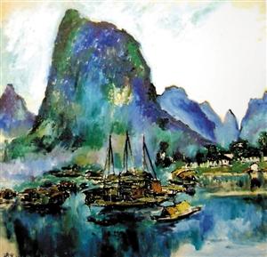 """刘海粟1976年作品,油画《漓江》。刘海粟主意中国人的油画,应当是注入中华平易近族精力、平易近族气质的油画。他用中国人的美学、中国画的文字不雅念来懂得油画,乃至曾经对丁涛说:""""我的油画也能够叫中国画。""""他把中国文字应用在油画创作中,把中国画的传统用笔应用到油画中。"""