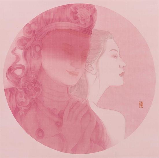 赵东,昔愿,直径53cm,纸本水墨,2015