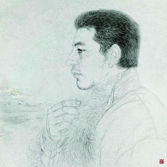 程敏,远山之二,50×50cm,纸本水墨,2015
