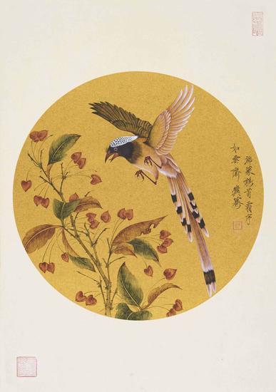 冀蓦,捻花,直径31.5cm,纸本水墨,2015