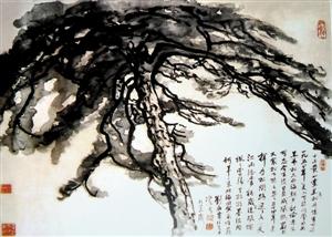 刘海粟1988年作品,中国画《黑虎松》