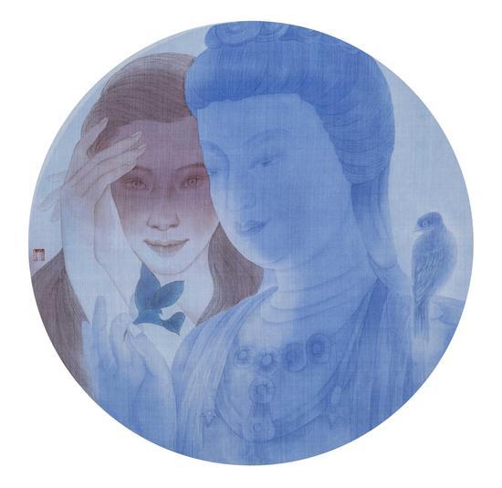 赵东,叶子,直径54cm,纸本水墨,2015