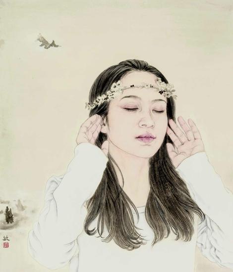 程敏,听,53×45cm,纸本水墨,2015