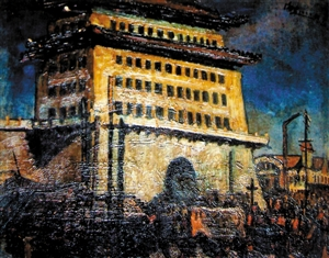 刘海粟1922年作品,油画《前门》