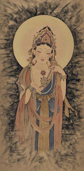 李晰,慈悲,130×64cm,纸本水墨,2015