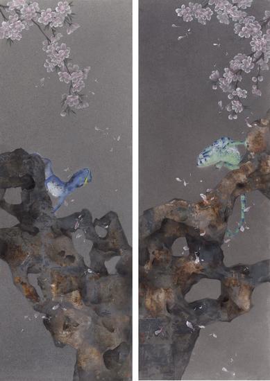 李娜,漫游者之三、四,115×40cm×2,纸本水墨,2015