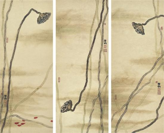 李晰,谁解枯蓬之一,80×32cm×3,纸本水墨,2015