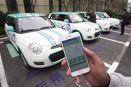 市民可以通过手机APP租车