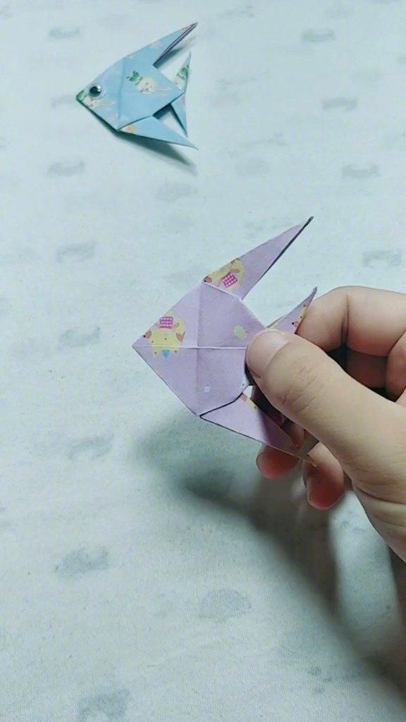 折纸小鱼,学会了教小朋友玩~