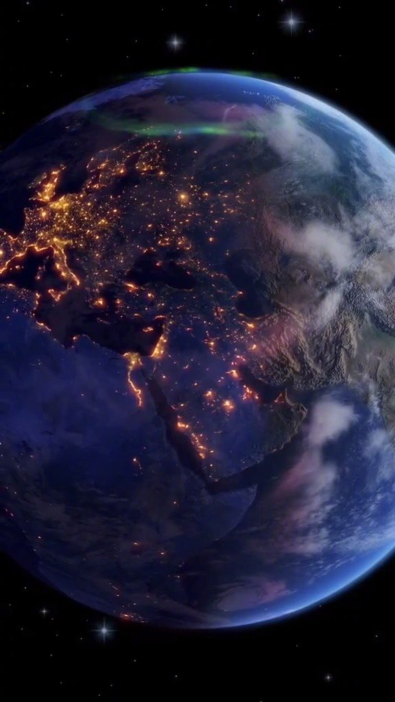 这可能是你第一次见过 地球的自转和夜晚区域白天