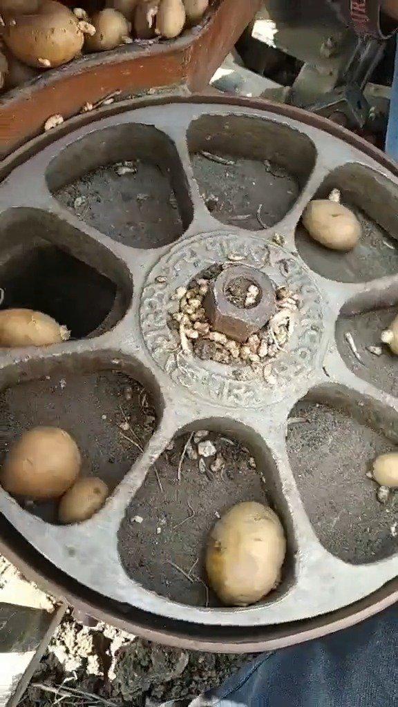 印度农村种土豆机器,感觉好厉害的样子