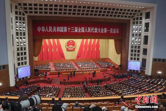 3月18日,十三届全国人大一次会议在北京人民大会堂举行第六次全体会议。 中新社记者 盛佳鹏 摄