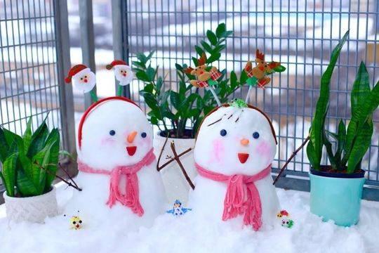 芝加哥的居民在陽臺堆起了雪人。