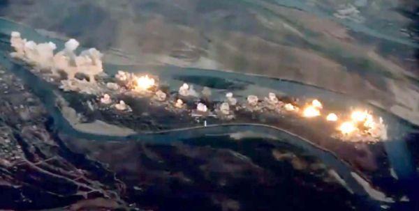 聯軍實施的空襲效果圖(視頻截圖)