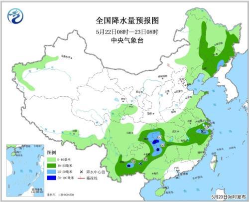 图3 全国降水量预报图(5月22日08时-23日08时)