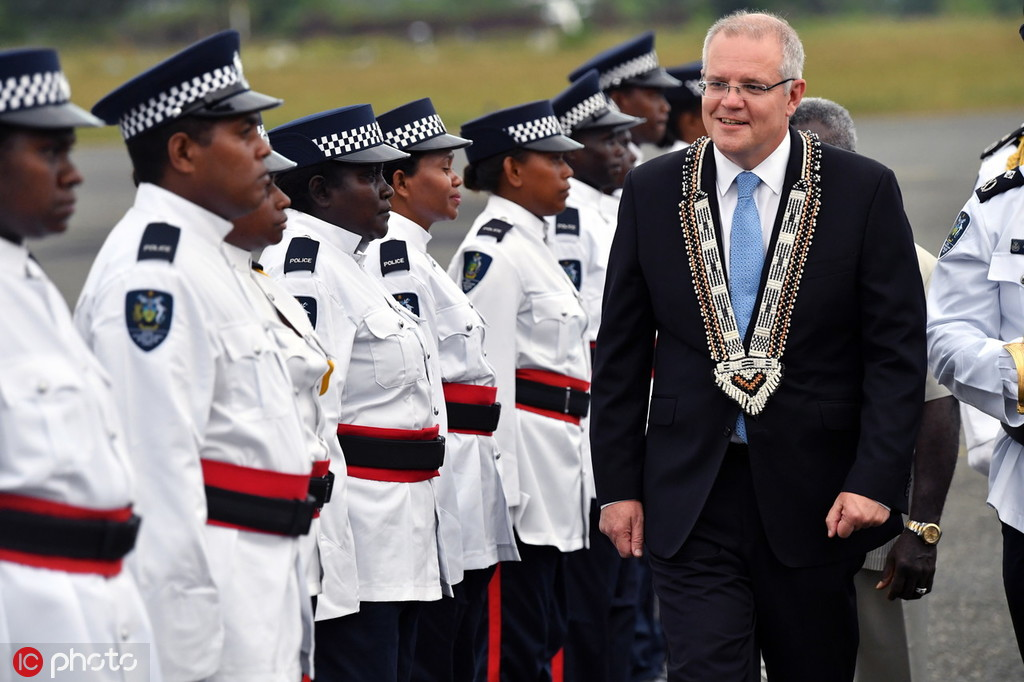 6月2日,澳总理莫里森拜候所罗门群岛(图源:ICphoto)