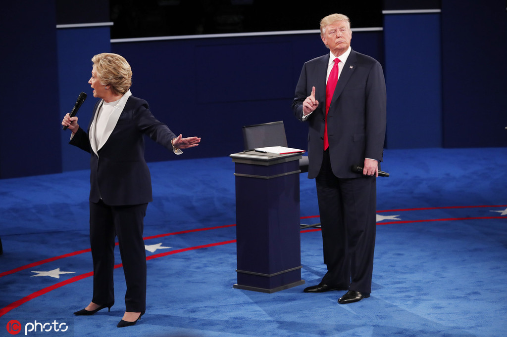 2016年10月,特朗普和希拉里进行第二次总统大选辩论 @IC Photo