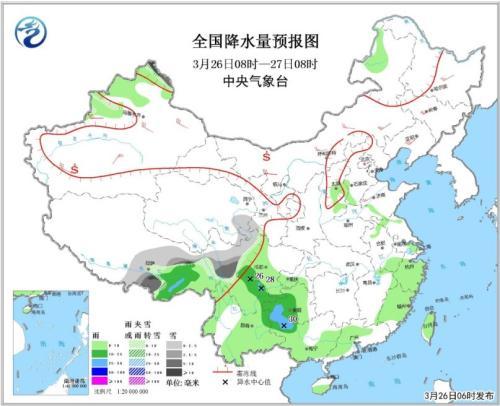 全国降水量预报图(3月26日08时-27日08时)