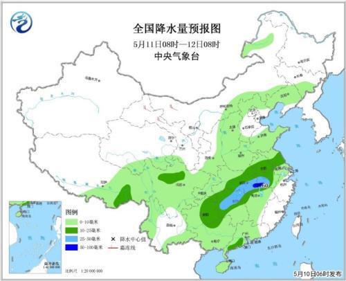 全国降水量预报图(5月11日08时-12日08时)