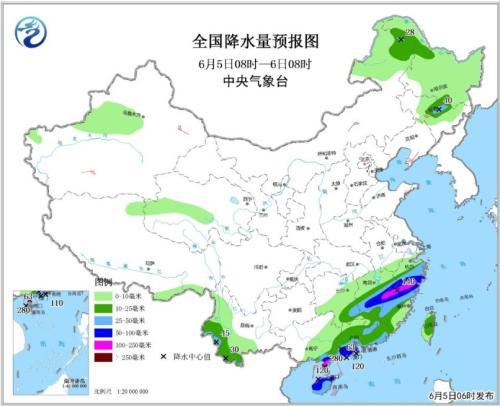 全国降水量预报图(6月5日08时-6日08时)