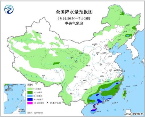 全国降水量预报图(6月6日08时-7日08时)