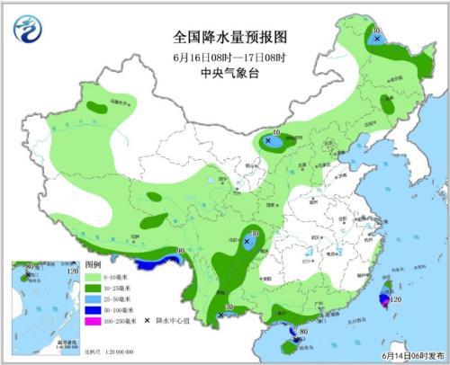 全国降水量预报图(6月16日08时-17日08时)
