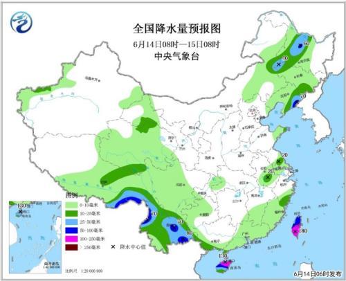 全国降水量预报图(6月14日08时-15日08时)