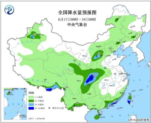 图2 全国降水量预报图(6月17日08时-18日08时)