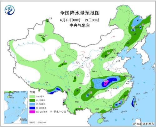 图3 全国降水量预报图(6月18日08时-19日08时)