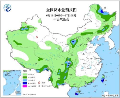 图1 全国降水量预报图(6月16日08时-17日08时)
