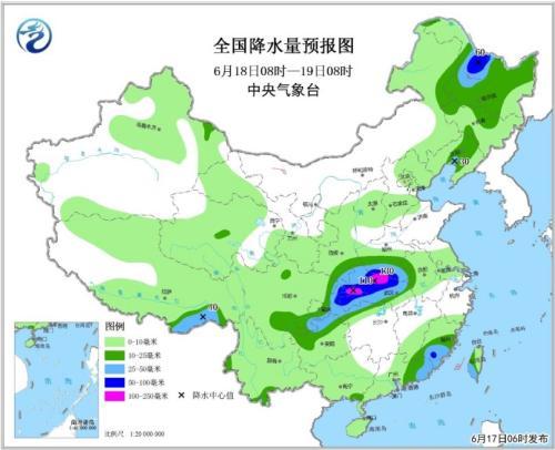 全国降水量预报图(6月18日08时-19日08时)