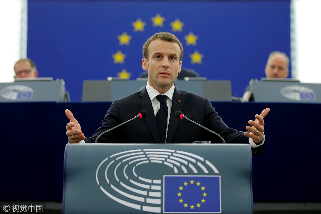 马克龙在欧洲议会的演讲 @视觉中国