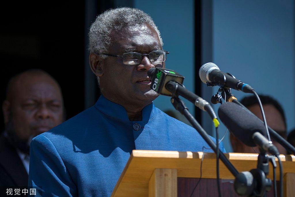 所罗门群岛总理索加瓦雷 @视觉中国