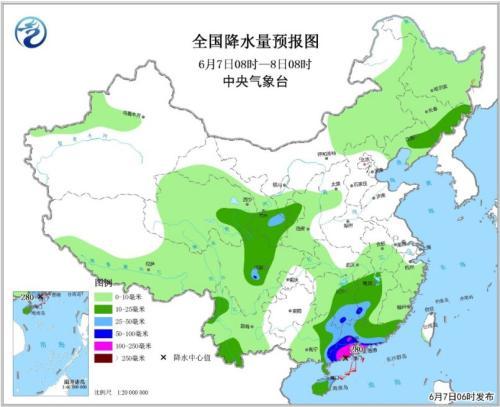 全国降水量预报图(6月7日08时-8日08时)