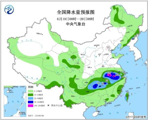全国降水量预报图(6月19日08时-20日08时)