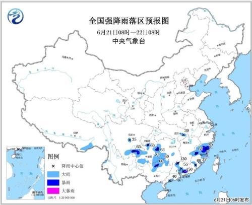 全国强降雨落区预报图(6月21日08时-22日08时)