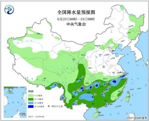 全国降水量预报图(6月23日08时-24日08时)