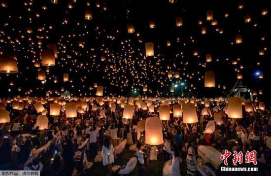 泰国清迈庆祝水灯节。(资料图片)