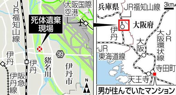 尸体遗弃现场及嫌疑人居住地点(图来自日本《产经新闻》)