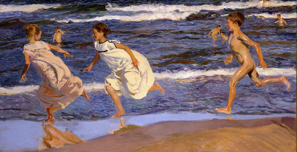 索罗拉,《Running Along the Beach, Valencia》, 1908年