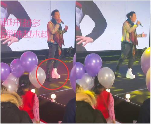 陈志朋脚踩恨天高棉鞋捞金,这次的造型属于一般的辣眼睛